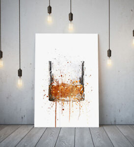 WHISKEY GLASS -DEEP FRAMED CANVAS WALL SPLASH ART PICTURE PAPER PRINT- BROWN