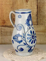 Vintage Blue Glazed Pottery Stoneware 8 Inch Pitcher With Cobalt Design