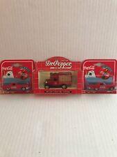 1997 Diecast Majorette COCA-COLA '57 Red T-BIRD 1:64 and LLEDO Dr. Pepper truck