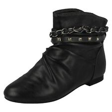 Girls H4053 Black synthetic pull on ankle boot by CUTIE SALE £2.99