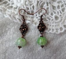 Copper Color Rose Earring with Green Beads