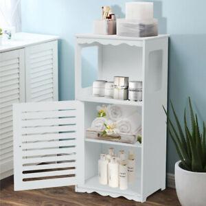 Badezimmerschrank Badschrank Eckschrank mit Tür Aufbewahrung 80 cm weiß