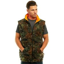 MEN'S REVERSIBLE CAMO & BLAZE ORANGE FLEECE HUNTING VEST - FULL ZIP WARM VEST