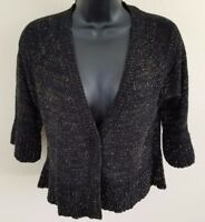 August Silk Womens Cardigan Sweater Size M Black Gold Cropped Knit (S