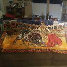 Vintage 6' Bull Fighting Tapestry