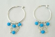 Silvertone Hoop Silvertone & Turquoise Bead Dangles Earrings-NEW