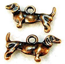 50Pcs. WHOLESALE Tibetan Antique Copper DACHSHUND DOG Charms Pendants Q0066