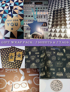 GIFT WRAP PAPER SET 2 Sheets +Tags MALE Granite Triangles GOLD STARS Peaky HIP
