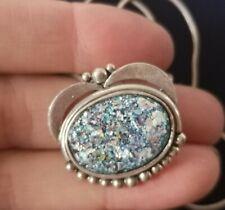 Foils Pendant Necklace Israel Large Vintage Sterling Silver Crushed