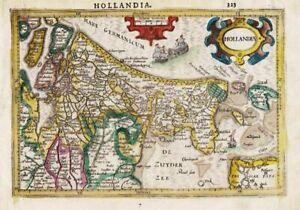 Holland Amsterdam Nederland Netherlands map Karte carte Mercator engraving 1607