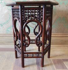 Bentwood Aesthetic Hexagon Side Table - Latticework with Cylindrical Legs