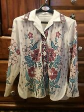 Vintage ladies jacket, white with red blue pink floral and diamond pattern
