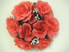 """3 CORAL Rose Candle Rings 3"""" Center Piece Artificial Silk Flowers 4005CO"""