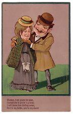 1909 PBF Serie 6310 Sweet Romance Couple Postcard Bas Relief Poem Birdie Dove