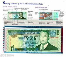 FIJI FIDJI Billet 2 Dollars 2000 P102 + FOLDER COMMEMORATIVE UNC NEUF