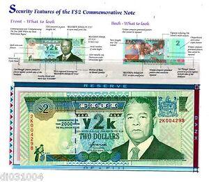 FIJI FIDJI Billet 2 Dollars 2000 P102 + FOLDER COMMEMORATIVE UNC NEUF