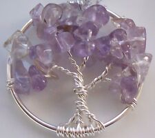 Natural Amatrine Tree of Life Pendant Necklace Wire Wrapped Silver Gemstone
