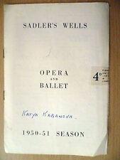 .1950-51 Sadler's Wells Opera and Ballet Programme: KATYA KABANOVA(Leos Janacek)