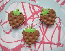 X 6 biscuit fraise poupée résine alimentaire peint cabochons decoden DIY Bijoux