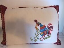 April Cornell PILLOW CUSHION NEW Tag 100% Cotton Country FARMHOUSE Rooster DECOR