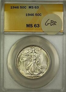 1946 Walking Liberty Silver Half Dollar 50c ANACS MS-63 (Better Coin) GBR