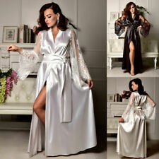 Women Sexy Satin Silk Lace Nightdress Sleepwear Long Dress Robe Gown Pajamas HOT