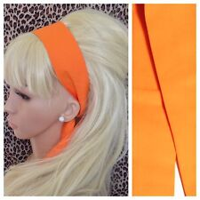 NEW PLAIN ORANGE COTTON FABRIC HEAD SCARF HAIR BAND SELF TIE BOW 50s 60s RETRO