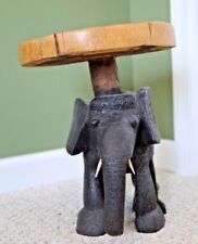 Carved African Wooden Small Table of an Elephant