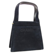 CHANEL CC Logos Hand Bag Purse Black Suede Leather 5356648 RK14512