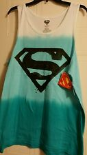 Marvel Superman sleeveless shirt white fade to aqua blue large