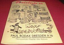prospekt falt blatt alt paul rodax dresden preisliste prax reklame werbung 1941