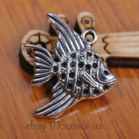 20 pieces 21mm Charms Fish Pendant Tibetan Silver DIY Jewelry A7085