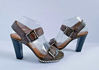 Diana Broussard Brown Sandals 6 37 Heels Shoes Textured Leather Chain Italy EUC