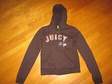 EUC Ladies Juicy Couture Brown Prep Plaid Hoodie Full Zip Sweatshirt Size Large