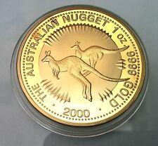 2000 THE AUSTRALIAN KANGAROO NUGGET FINISHED IN 999 24K Gold Medallion