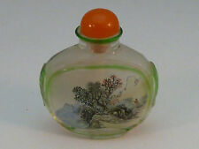 Antique Reverse Painted Snuff Bottle Chinese Glass with Stopper Miniature China