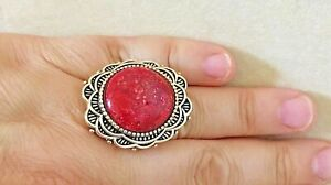 Size 6 New Barse Ring, Red Sponge Coral with Bronze MSRP $85