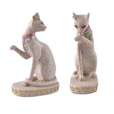 2x Sand Stone Egyptian Style Mau Cat Statue Figurine Home Office Decor Gift