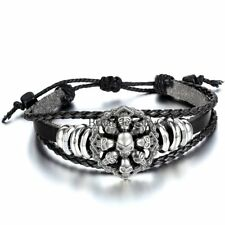 Punk Rock Goth Big Eye Skull Pattern Tribal Men Women Leather Cuff Bracelet
