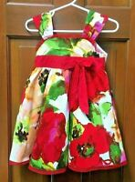 Zunie Toddler Girl Size 2T Red Floral Print Sleeveless Petticoat Party Dress