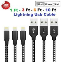 For 8Pin iPhone 6 7 8 Plus iPhone 11 XR Xs Max Charger USB Cable Cord 3/6/10FT