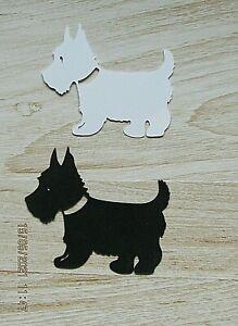 New : 16 Silhouette Scottie Dog Cuts :  8 Black & 8 White