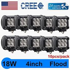 10PCS 4INCH 18W CREE LED WORK LIGHT BAR FLOOD DRIVING TRUCK LAMP 4X4WD SUV SALE