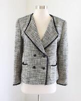 Ann Taylor Loft Women's Off White Black Tweed Fringe Blazer Jacket Size 8