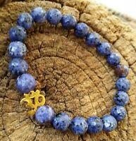 18 K Gold Om Ohm Celestial Blue Lapis Lazuli Healing Gemstone Beaded Bracelet