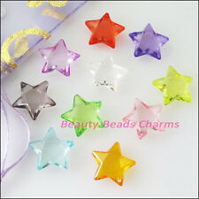 30Pcs Mixed Plastic Acrylic Clear Star Charms Pendants 15mm