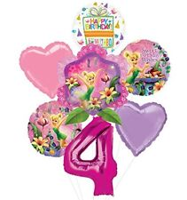 Tinkerbell 4th Birthday Party Supplies and Balloon Bouquet Decorations