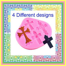 Cross Silicone Mould 4 different Designs. PERFECT FOR FONDANT SUGAR CRAFT. ECT