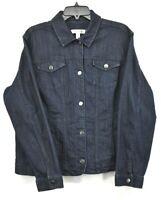 Croft & Barrow Women Navy Blue Button Front Long Sleeve Stretch Denim Jacket XL