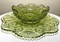 Vintage Imperial Glass Verde Green Hobstar Arches Bowl & Round Serving Platter